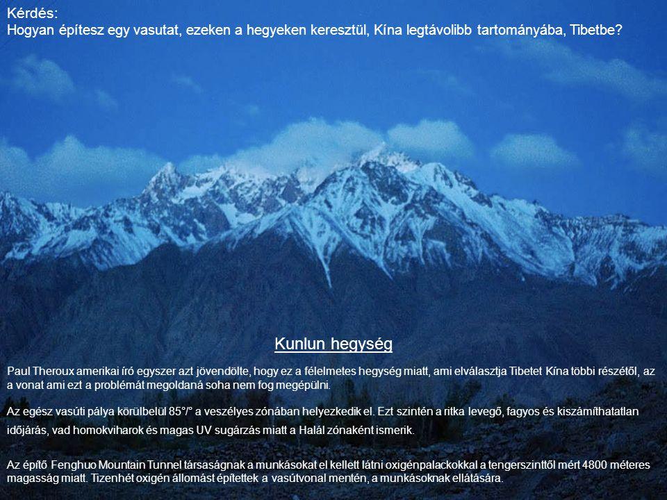 Kunlun hegység Paul Theroux amerikai író egyszer azt jövendölte, hogy ez a félelmetes hegység miatt, ami elválasztja Tibetet Kína többi részétől, az a vonat ami ezt a problémát megoldaná soha nem fog megépülni.