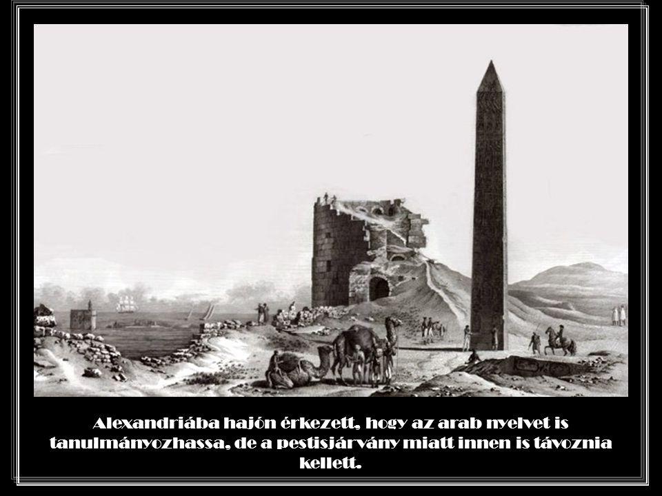 Alexandriába hajón érkezett, hogy az arab nyelvet is tanulmányozhassa, de a pestisjárvány miatt innen is távoznia kellett.