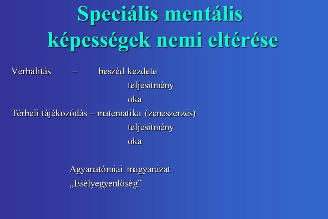 """Speciális mentális képességek nemi eltérése Verbalitás – beszéd kezdete teljesítményoka Térbeli tájékozódás – matematika (zeneszerzés) teljesítményoka Agyanatómiai magyarázat """"Esélyegyenlőség"""