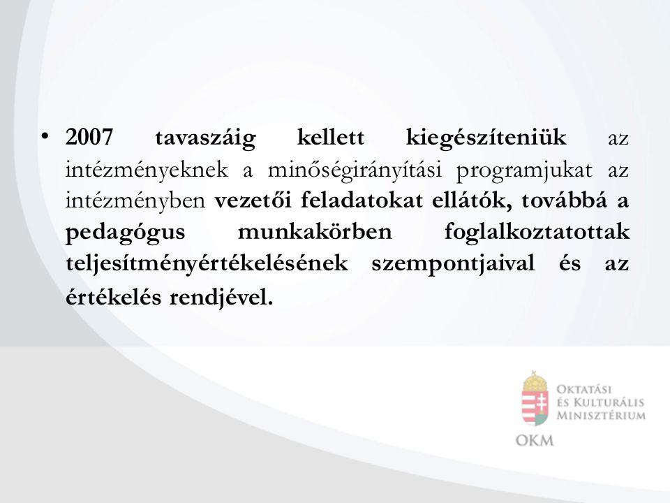 2007 tavaszáig kellett kiegészíteniük az intézményeknek a minőségirányítási programjukat az intézményben vezetői feladatokat ellátók, továbbá a pedagógus munkakörben foglalkoztatottak teljesítményértékelésének szempontjaival és az értékelés rendjével.