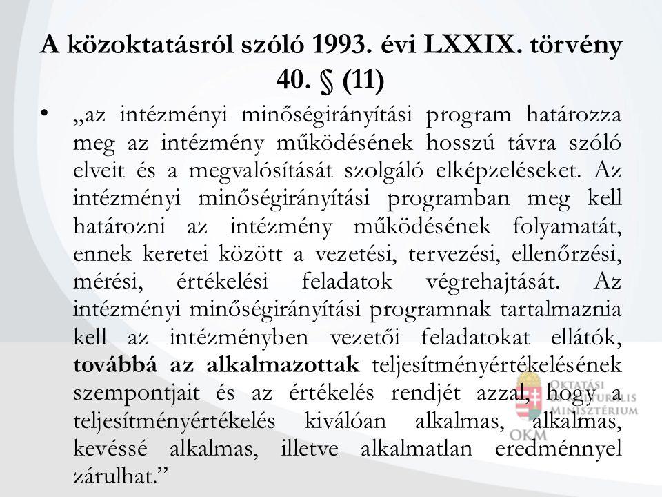 """A közoktatásról szóló 1993. évi LXXIX. törvény 40. § (11) """"az intézményi minőségirányítási program határozza meg az intézmény működésének hosszú távra"""