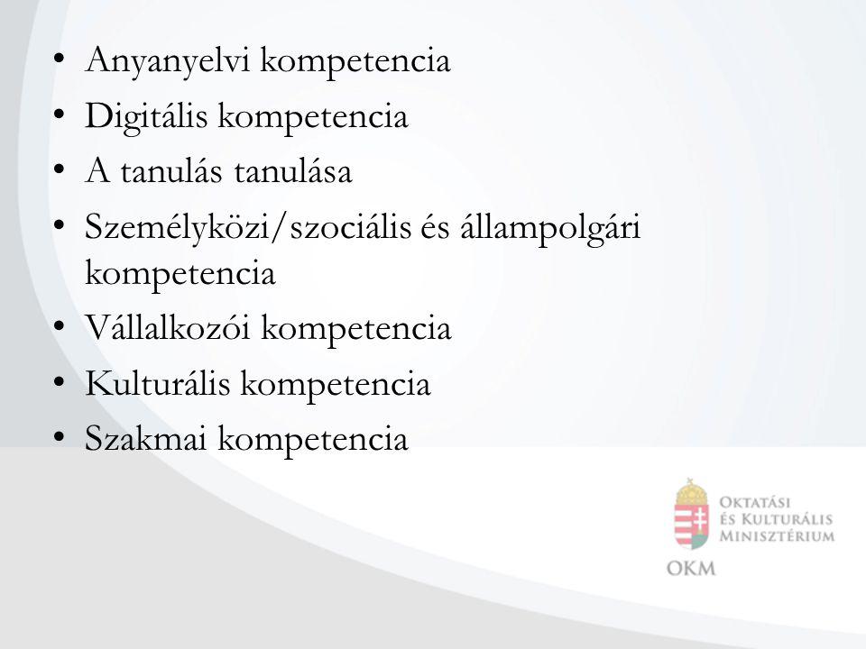 Anyanyelvi kompetencia Digitális kompetencia A tanulás tanulása Személyközi/szociális és állampolgári kompetencia Vállalkozói kompetencia Kulturális kompetencia Szakmai kompetencia
