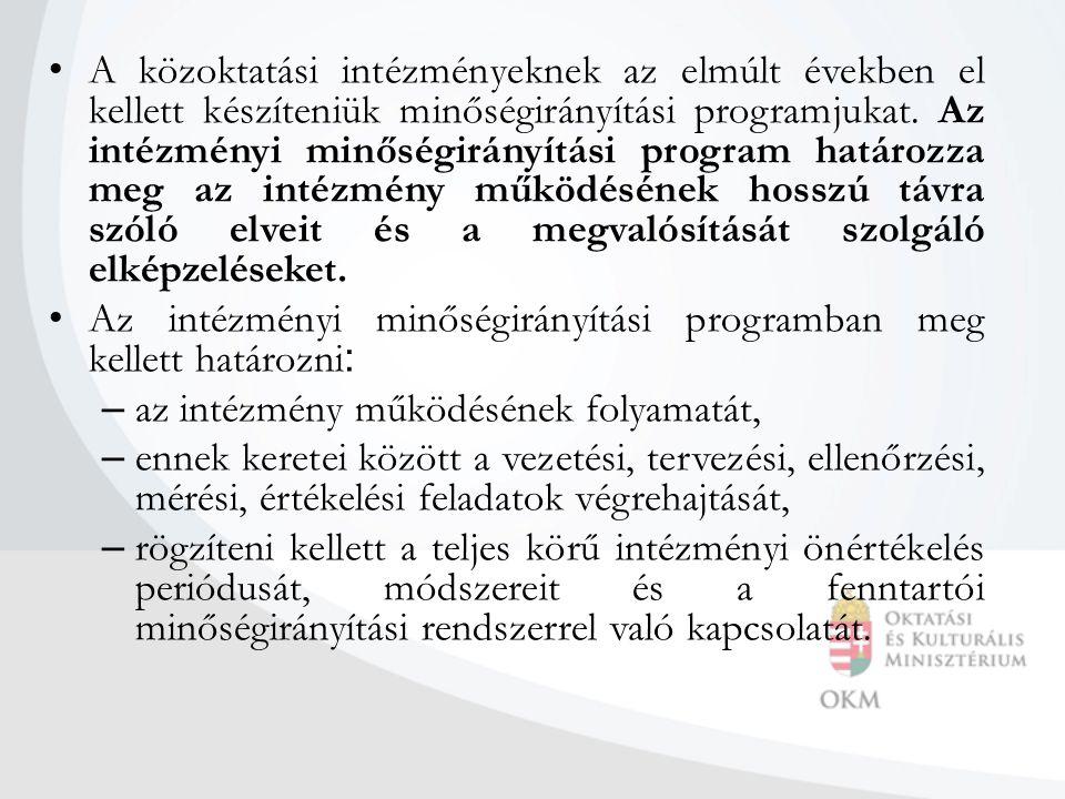 A közoktatási intézményeknek az elmúlt években el kellett készíteniük minőségirányítási programjukat. Az intézményi minőségirányítási program határozz
