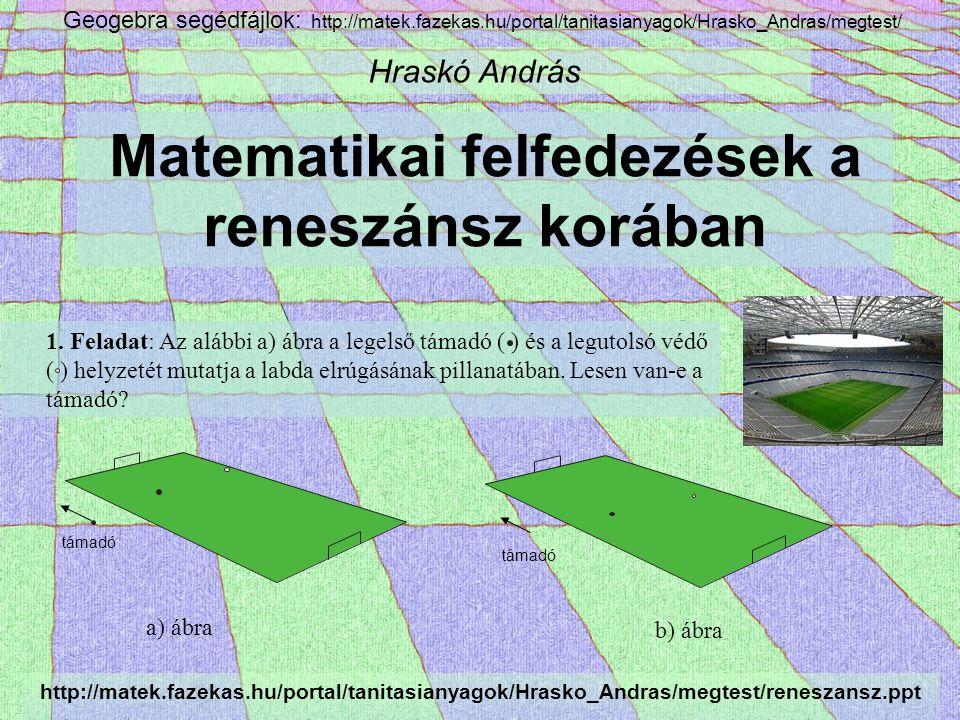 Matematikai felfedezések a reneszánsz korában Hraskó András 1.