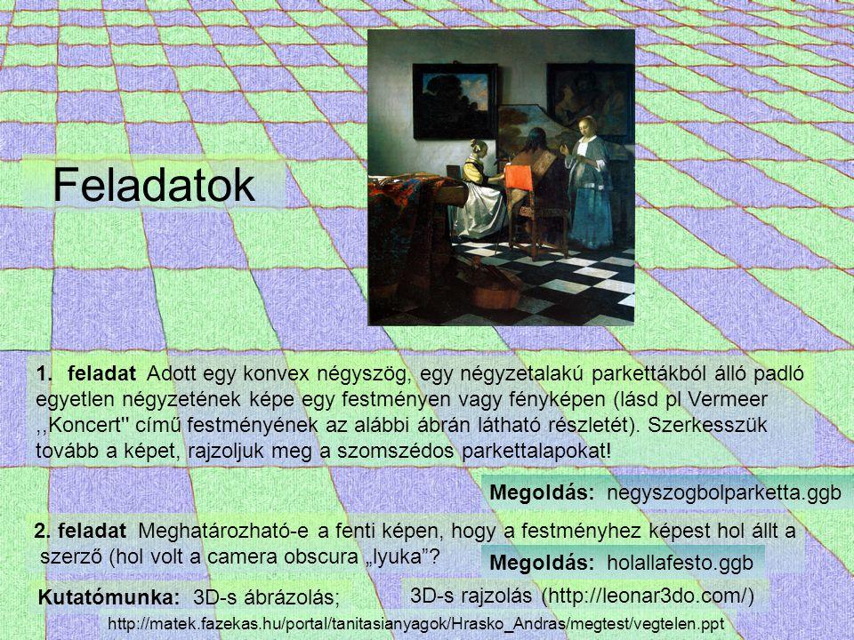 Feladatok 1.feladat Adott egy konvex négyszög, egy négyzetalakú parkettákból álló padló egyetlen négyzetének képe egy festményen vagy fényképen (lásd pl Vermeer,,Koncert című festményének az alábbi ábrán látható részletét).