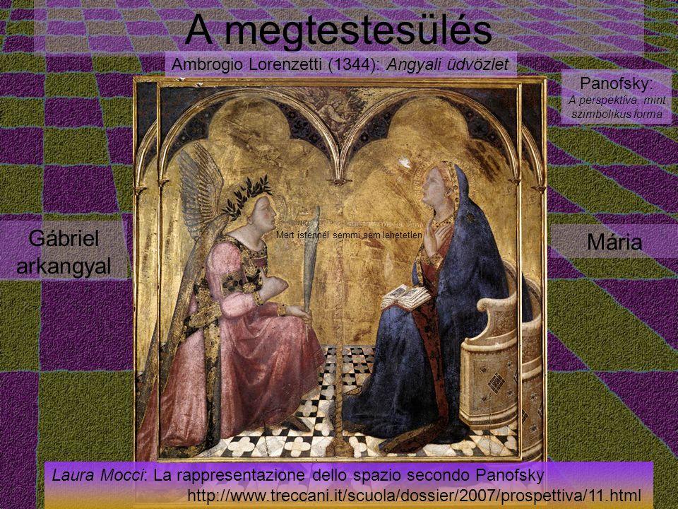 A megtestesülés Gábriel arkangyal Mária Ambrogio Lorenzetti (1344): Angyali üdvözlet Panofsky: A perspektíva, mint szimbolikus forma Laura Mocci: La rappresentazione dello spazio secondo Panofsky http://www.treccani.it/scuola/dossier/2007/prospettiva/11.html Mert istennél semmi sem lehetetlen