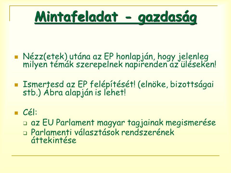 Nézz(etek) utána az EP honlapján, hogy jelenleg milyen témák szerepelnek napirenden az üléseken.