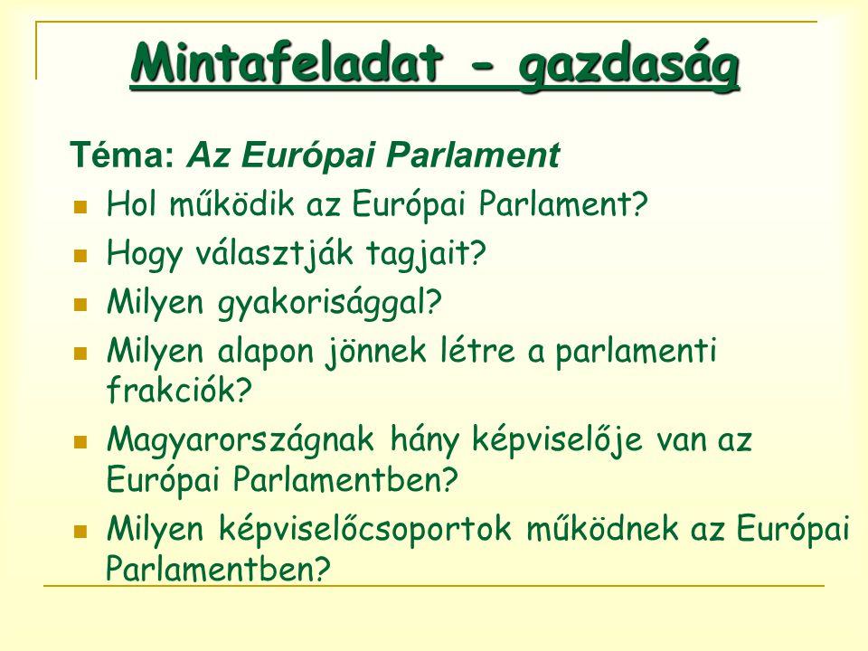 Téma: Az Európai Parlament Hol működik az Európai Parlament? Hogy választják tagjait? Milyen gyakorisággal? Milyen alapon jönnek létre a parlamenti fr