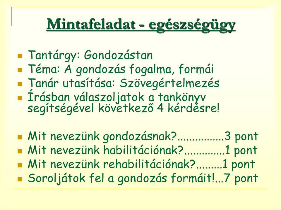 Mintafeladat - egészségügy Tantárgy: Gondozástan Téma: A gondozás fogalma, formái Tanár utasítása: Szövegértelmezés Írásban válaszoljatok a tankönyv segítségével következő 4 kérdésre.