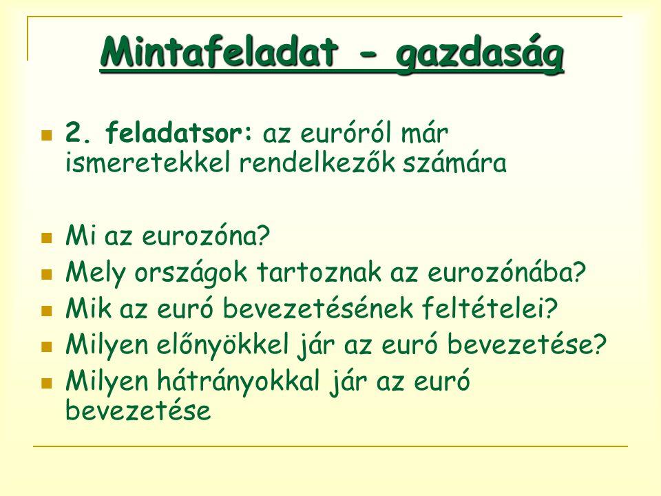 2. feladatsor: az euróról már ismeretekkel rendelkezők számára Mi az eurozóna? Mely országok tartoznak az eurozónába? Mik az euró bevezetésének feltét