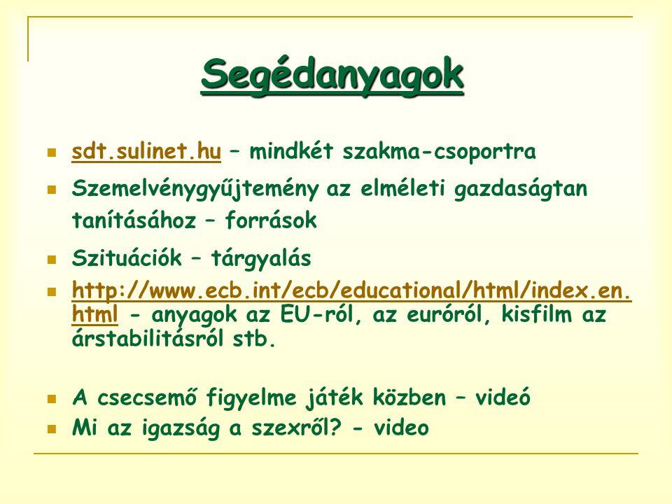 Segédanyagok sdt.sulinet.hu – mindkét szakma-csoportra sdt.sulinet.hu Szemelvénygyűjtemény az elméleti gazdaságtan tanításához – források Szituációk – tárgyalás http://www.ecb.int/ecb/educational/html/index.en.