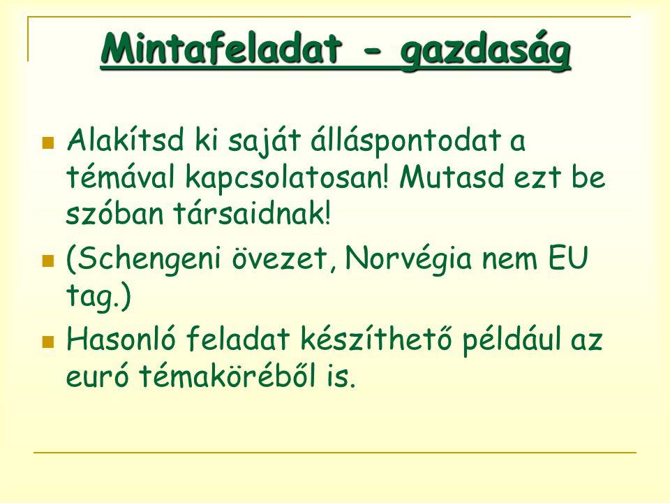 Alakítsd ki saját álláspontodat a témával kapcsolatosan! Mutasd ezt be szóban társaidnak! (Schengeni övezet, Norvégia nem EU tag.) Hasonló feladat kés