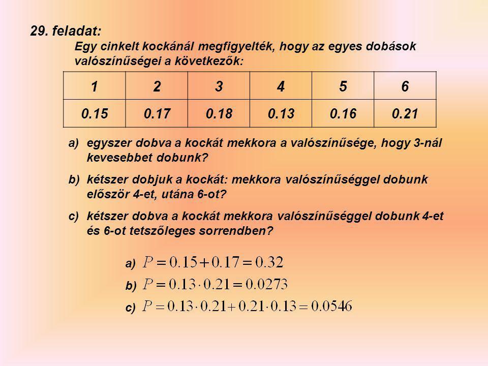 27. feladat: Az ábrán látható korongon a mutatót megpörgetve véletlenszerűen áll meg valamelyik helyzetben. Határozzuk meg annak a valószínűségét, hog