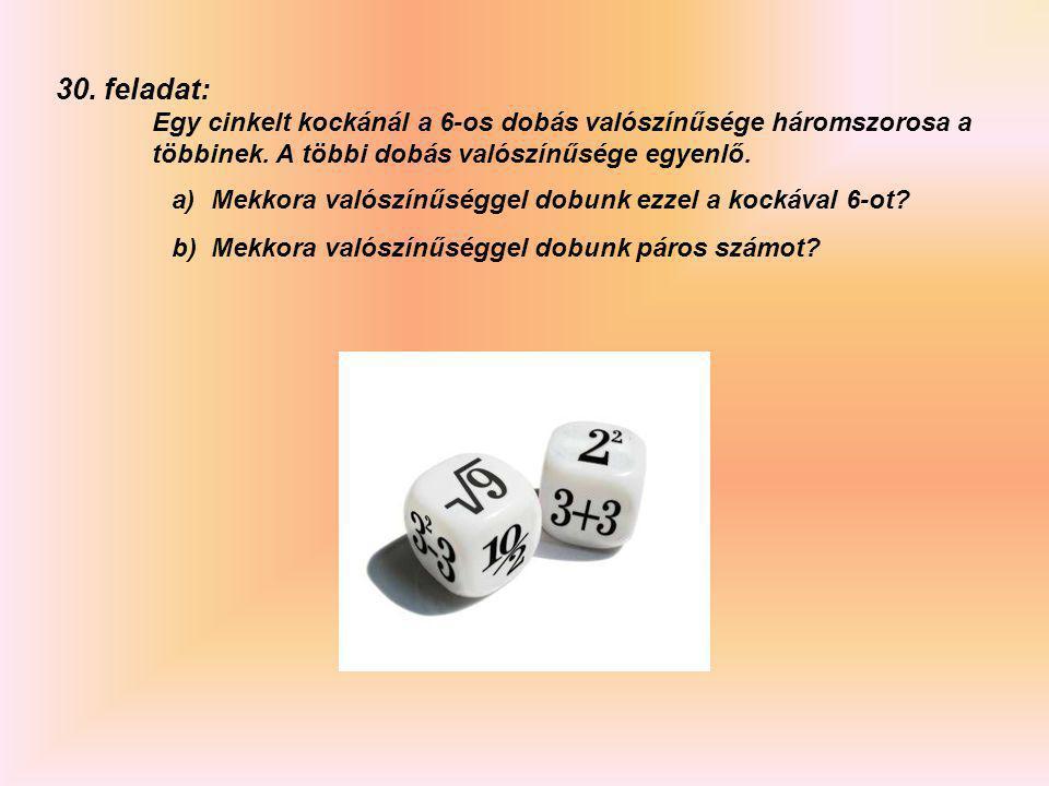 29. feladat: Egy cinkelt kockánál megfigyelték, hogy az egyes dobások valószínűségei a következők: 123456 0.150.170.180.130.160.21 a)egyszer dobva a k