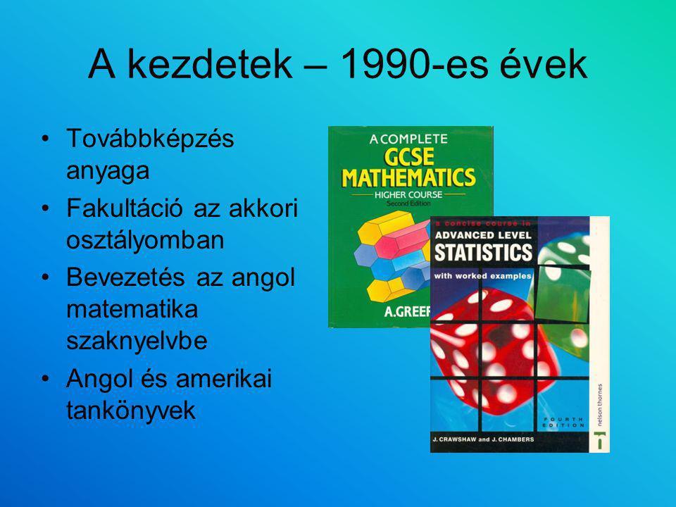A kezdetek – 1990-es évek Továbbképzés anyaga Fakultáció az akkori osztályomban Bevezetés az angol matematika szaknyelvbe Angol és amerikai tankönyvek