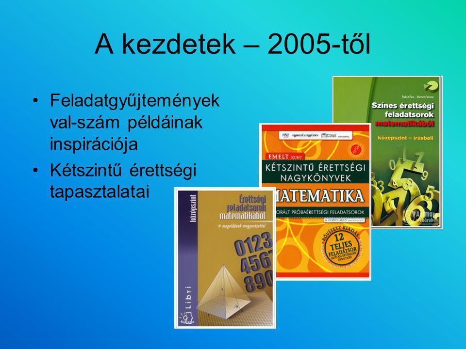 A kezdetek – 2005-től Feladatgyűjtemények val-szám példáinak inspirációja Kétszintű érettségi tapasztalatai