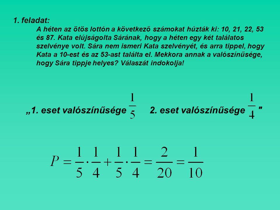 1.feladat: A héten az ötös lottón a következő számokat húzták ki: 10, 21, 22, 53 és 87.