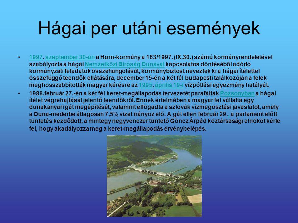 Hágai per utáni események 1997. szeptember 30-án a Horn-kormány a 163/1997. (IX.30.) számú kormányrendeletével szabályozta a hágai Nemzetközi Bíróság