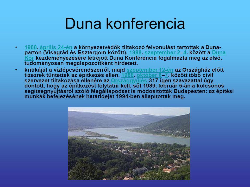 Duna konferencia 1988. április 24-én a környezetvédők tiltakozó felvonulást tartottak a Duna- parton (Visegrád és Esztergom között). 1988. szeptember
