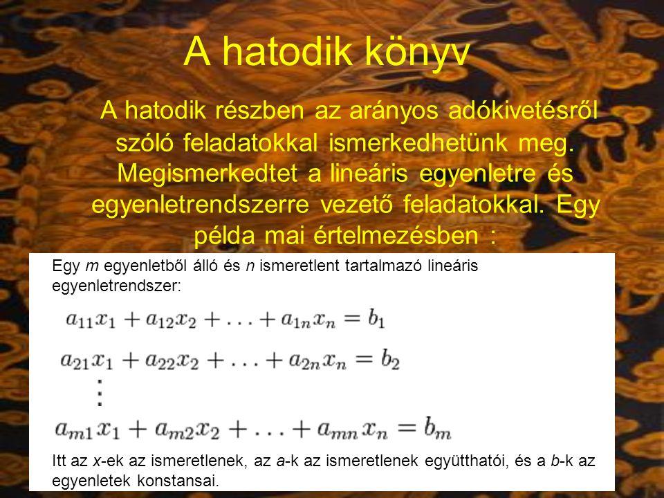 """Nyolcadik könyv A lineáris egyenletrendszerek megoldási szabálya ebben részben tökéletesedik ki a """"fang-cseng szabályban."""