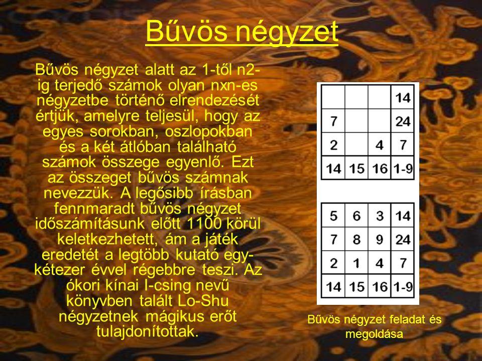 Bűvös négyzet Bűvös négyzet alatt az 1-től n2- ig terjedő számok olyan nxn-es négyzetbe történő elrendezését értjük, amelyre teljesül, hogy az egyes sorokban, oszlopokban és a két átlóban található számok összege egyenlő.