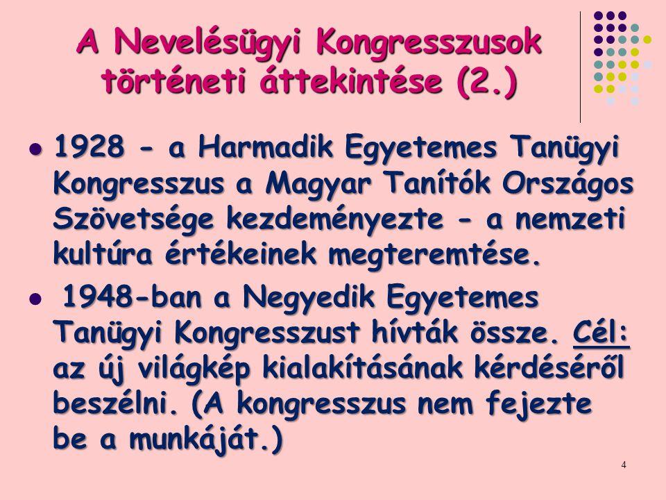 A Nevelésügyi Kongresszusok történeti áttekintése (2.) 1928 - a Harmadik Egyetemes Tanügyi Kongresszus a Magyar Tanítók Országos Szövetsége kezdeményezte - a nemzeti kultúra értékeinek megteremtése.