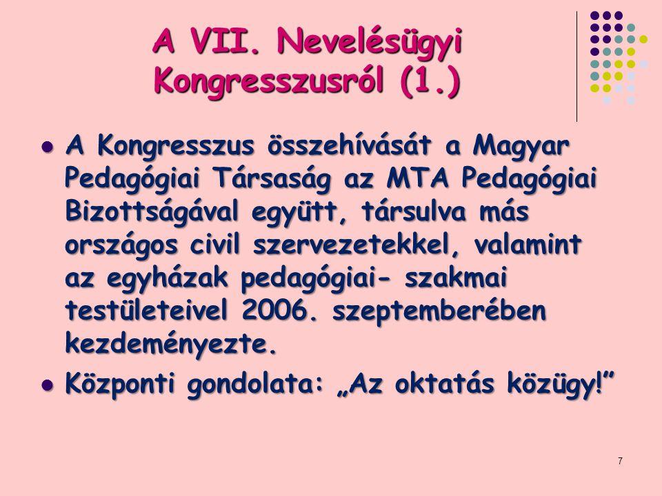 A VII. Nevelésügyi Kongresszusról (1.) A Kongresszus összehívását a Magyar Pedagógiai Társaság az MTA Pedagógiai Bizottságával együtt, társulva más or