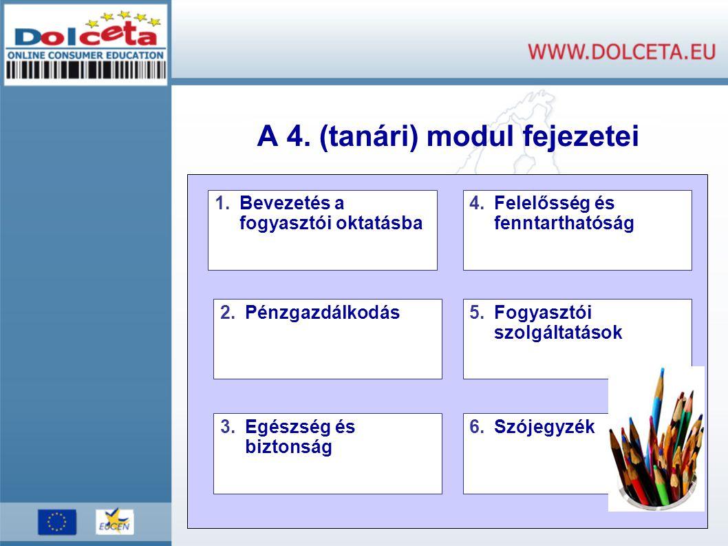 A 4. (tanári) modul fejezetei 1.Bevezetés a fogyasztói oktatásba 2.Pénzgazdálkodás 4.Felelősség és fenntarthatóság 5.Fogyasztói szolgáltatások 6.Szóje