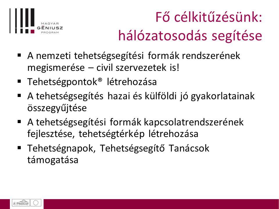 Fő célkitűzésünk: hálózatosodás segítése  A nemzeti tehetségsegítési formák rendszerének megismerése – civil szervezetek is!  Tehetségpontok® létreh