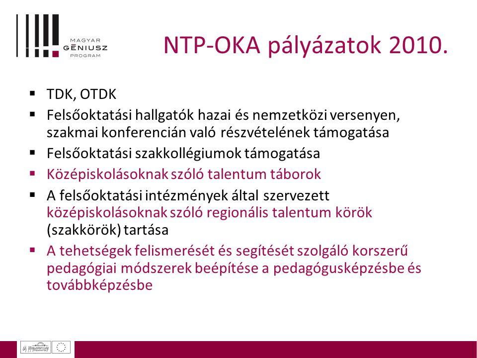 NTP-OKA pályázatok 2010.  TDK, OTDK  Felsőoktatási hallgatók hazai és nemzetközi versenyen, szakmai konferencián való részvételének támogatása  Fel