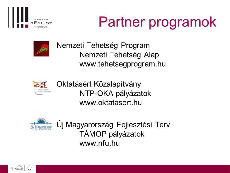 Partner programok Nemzeti Tehetség Program Nemzeti Tehetség Alap www.tehetsegprogram.hu Oktatásért Közalapítvány NTP-OKA pályázatok www.oktatasert.hu