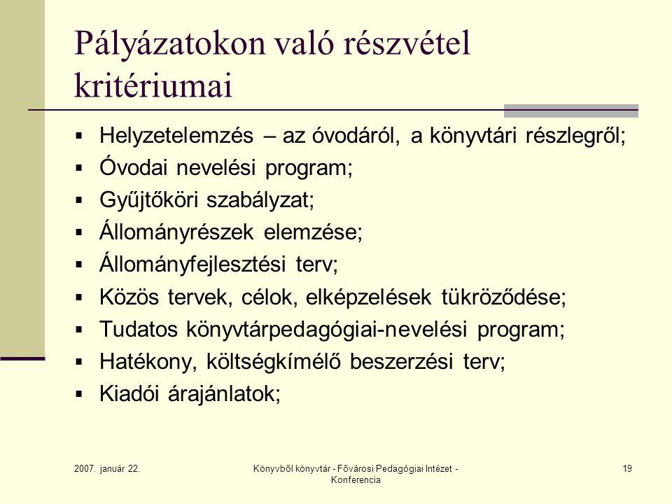 2007. január 22. Könyvből könyvtár - Fővárosi Pedagógiai Intézet - Konferencia 19 Pályázatokon való részvétel kritériumai  Helyzetelemzés – az óvodár