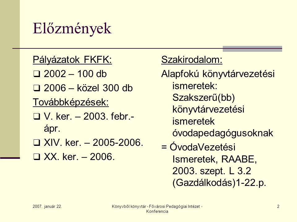Könyvből könyvtár - Fővárosi Pedagógiai Intézet - Konferencia 2 Pályázatok FKFK:  2002 – 100 db  2006 – közel 300 db Továbbképzések:  V. ker. – 200