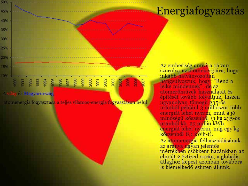 Energiafogyasztás Az emberiség annyira rá van szorulva az atomenergiára, hogy inkább hatványozottan hangsúlyozzuk, hogy: Rend a lelke mindennek , de az atomerőművek használatát és építését tovább folytatjuk, hiszen ugyanolyan tömegű 235-ös uránból például 3 milliószor több energiát lehet nyerni, mint a jó minőségű kőszénből (1 kg 235-ös uránból kb.