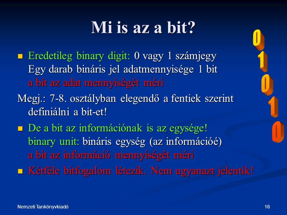 16Nemzeti Tankönyvkiadó Mi is az a bit? Eredetileg binary digit: 0 vagy 1 számjegy Egy darab bináris jel adatmennyisége 1 bit a bit az adat mennyiségé