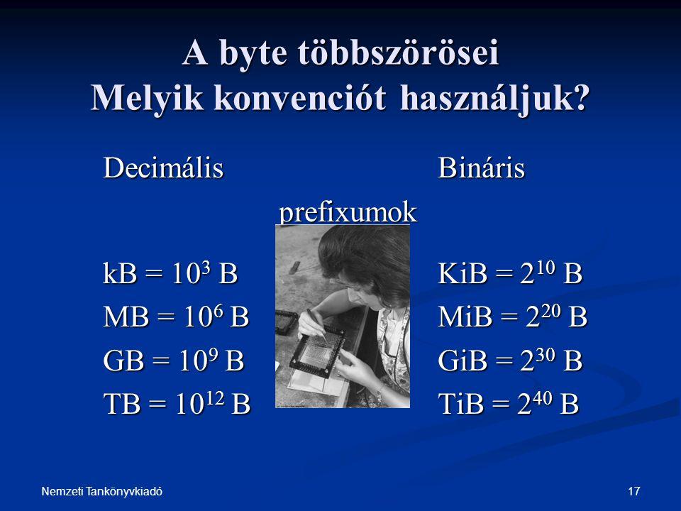 17Nemzeti Tankönyvkiadó A byte többszörösei Melyik konvenciót használjuk? DecimálisBináris prefixumok kB = 10 3 BKiB = 2 10 B MB = 10 6 BMiB = 2 20 B
