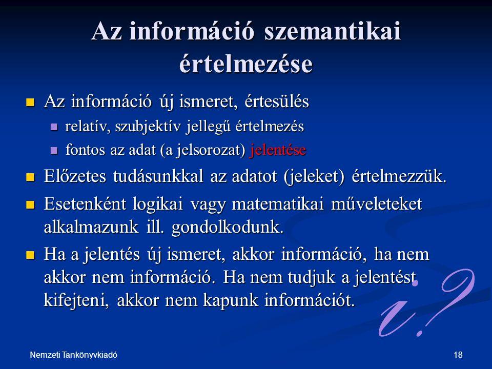 18Nemzeti Tankönyvkiadó Az információ szemantikai értelmezése Az információ új ismeret, értesülés Az információ új ismeret, értesülés relatív, szubjek