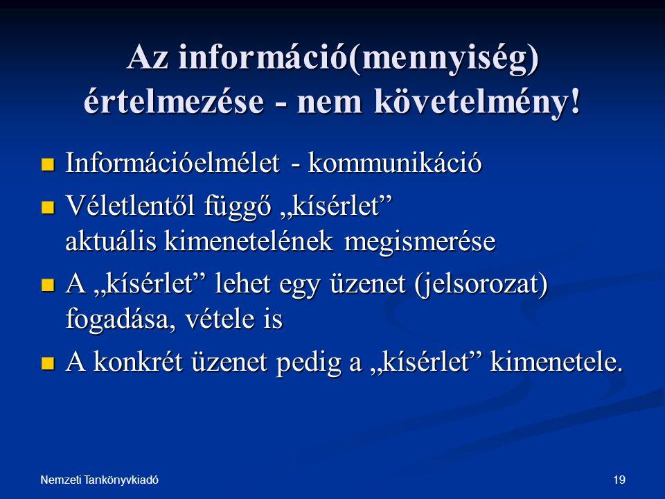 19Nemzeti Tankönyvkiadó Az információ(mennyiség) értelmezése - nem követelmény! Információelmélet - kommunikáció Információelmélet - kommunikáció Véle