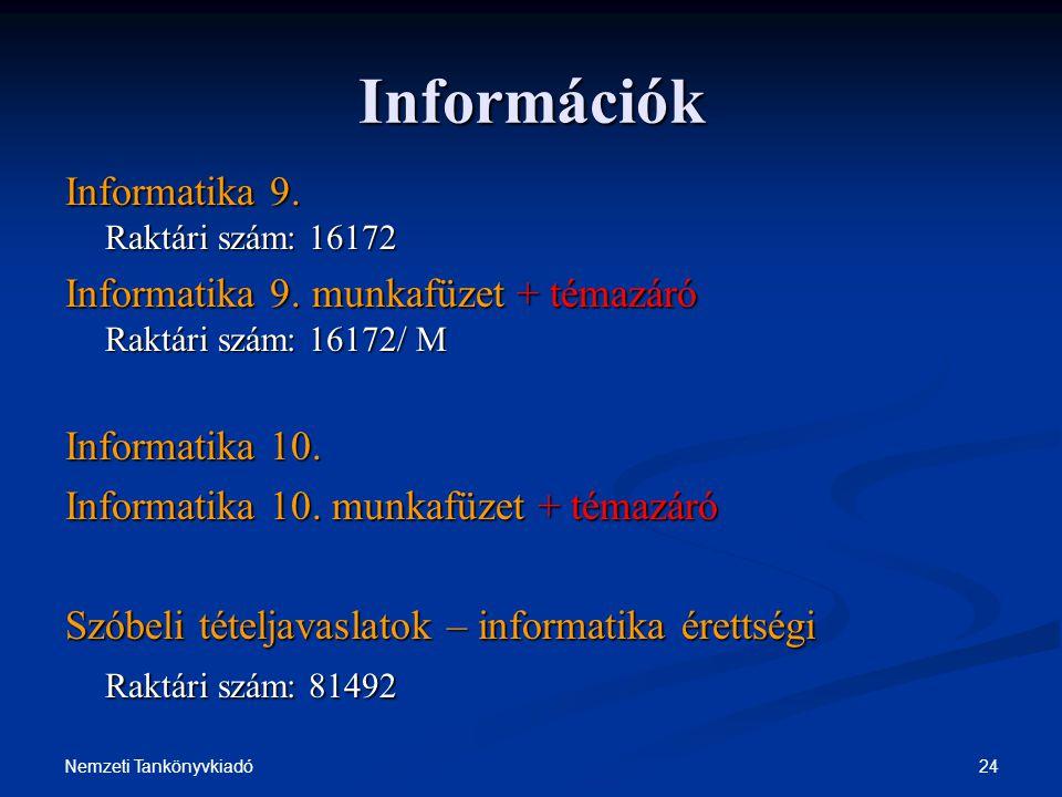 24Nemzeti Tankönyvkiadó Információk Informatika 9. Raktári szám: 16172 Informatika 9. munkafüzet + témazáró Raktári szám: 16172/ M Informatika 10. Inf