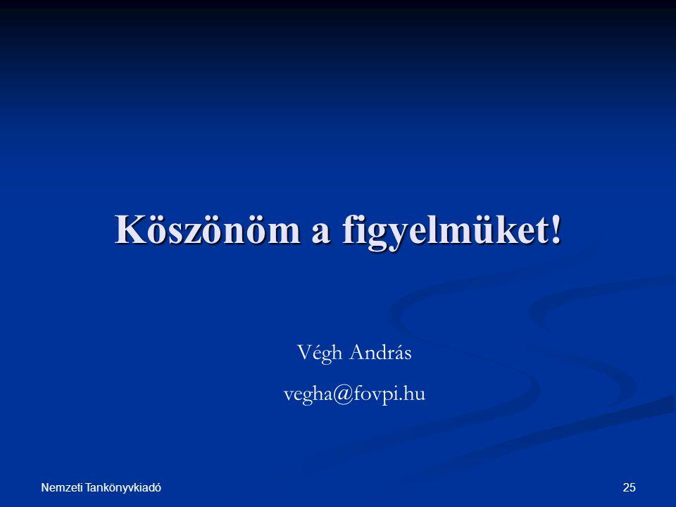 25Nemzeti Tankönyvkiadó Köszönöm a figyelmüket! Végh András vegha@fovpi.hu