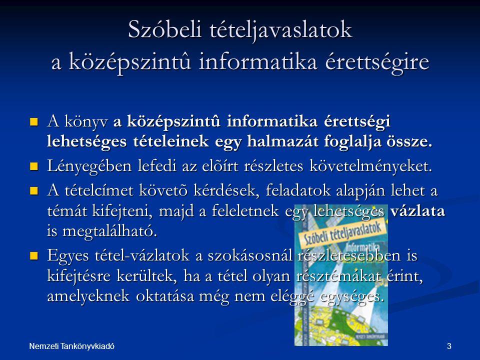 3Nemzeti Tankönyvkiadó Szóbeli tételjavaslatok a középszintû informatika érettségire A könyv a középszintû informatika érettségi lehetséges tételeinek