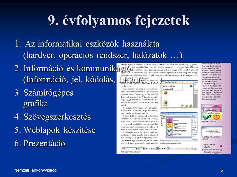 6Nemzeti Tankönyvkiadó 9. évfolyamos fejezetek 1. Az informatikai eszközök használata (hardver, operációs rendszer, hálózatok …) 2. Információ és komm
