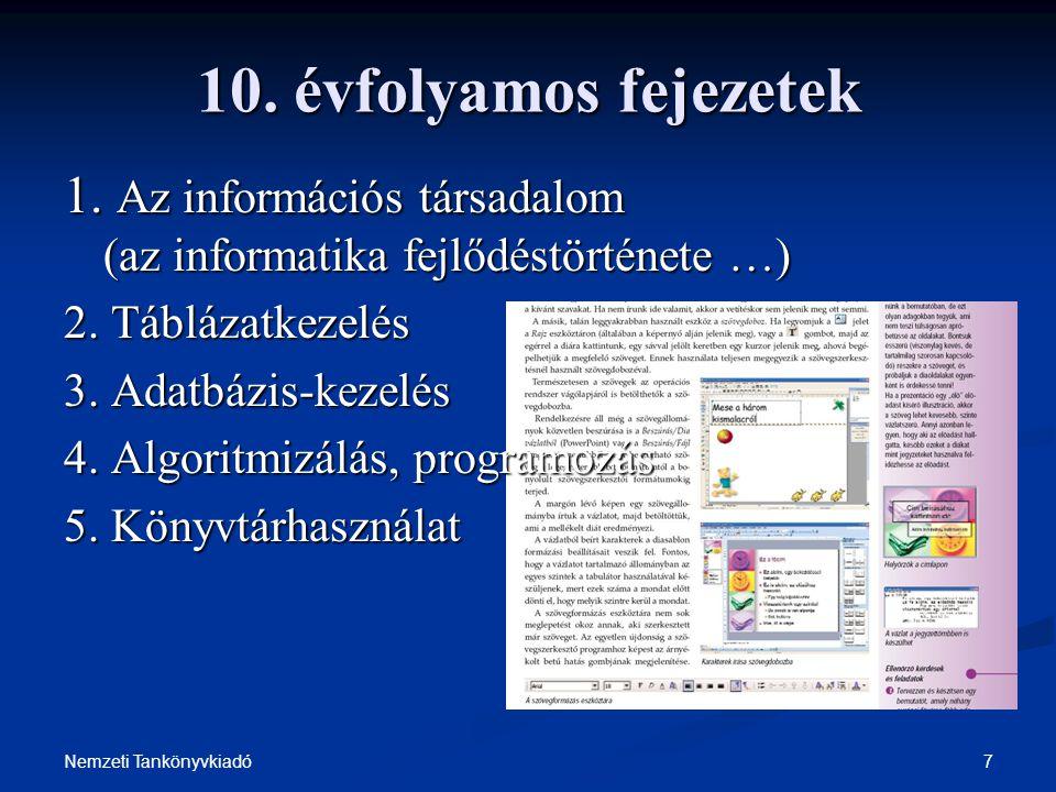 7Nemzeti Tankönyvkiadó 10. évfolyamos fejezetek 1. Az információs társadalom (az informatika fejlődéstörténete …) 2. Táblázatkezelés 3. Adatbázis-keze