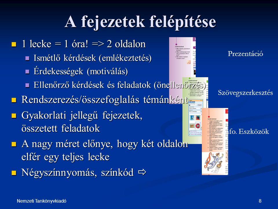 19Nemzeti Tankönyvkiadó Az információ(mennyiség) értelmezése - nem követelmény.