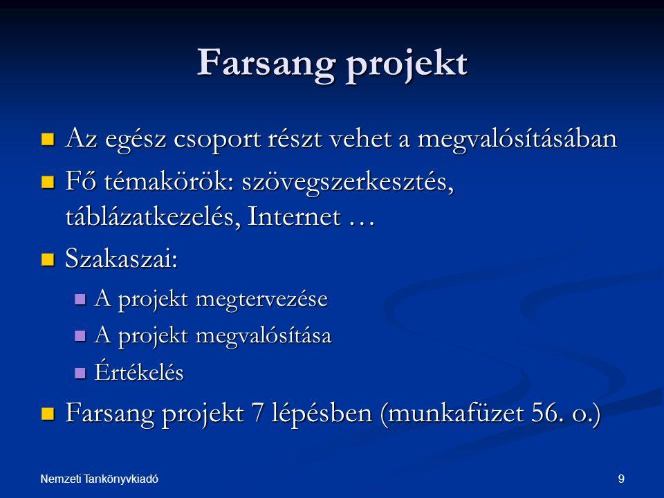9Nemzeti Tankönyvkiadó Farsang projekt Az egész csoport részt vehet a megvalósításában Az egész csoport részt vehet a megvalósításában Fő témakörök: s