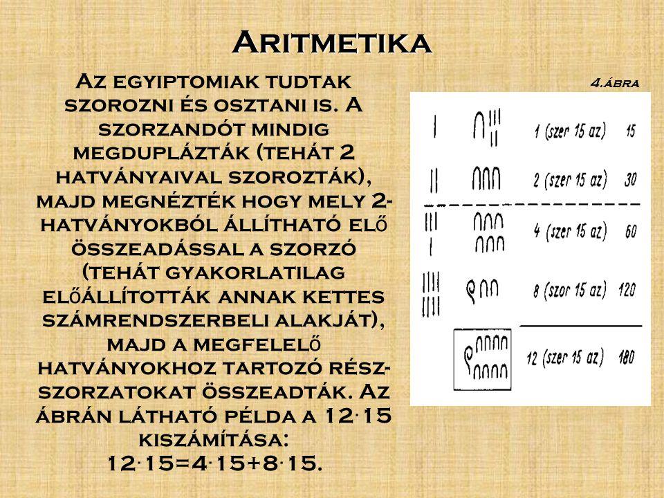 Aritmetika Az egyiptomiak tudtak szorozni és osztani is.