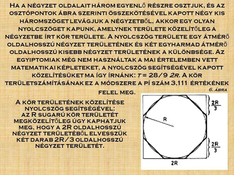 A kör területének közelítése nyolcszög segítségével: az R sugarú kör területét megközelít ő leg úgy kaphatjuk meg, hogy a 2R oldalhosszú négyzet területéb ő l elvesszük két darab 2R/3 oldalhosszú négyzet területét.