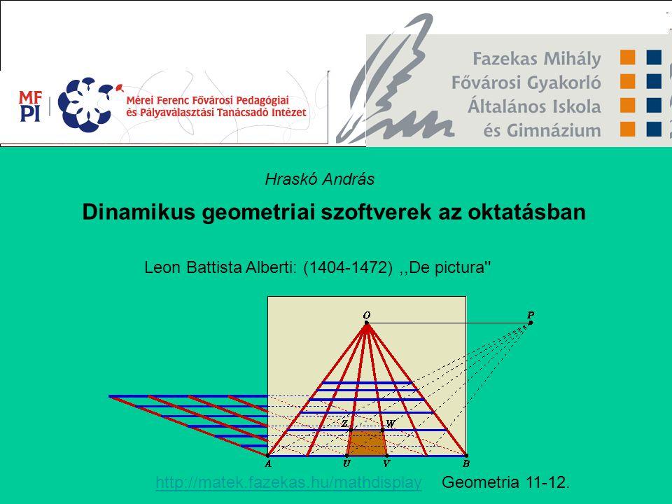 Dinamikus geometriai szoftverek az oktatásban Leon Battista Alberti: (1404-1472),,De pictura'' Hraskó András http://matek.fazekas.hu/mathdisplayhttp:/