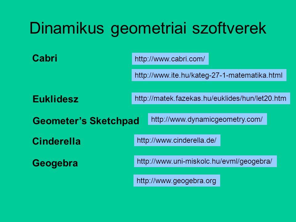 Dinamikus geometriai szoftverek http://www.uni-miskolc.hu/evml/geogebra/ http://www.ite.hu/kateg-27-1-matematika.html http://www.cabri.com/ http://mat