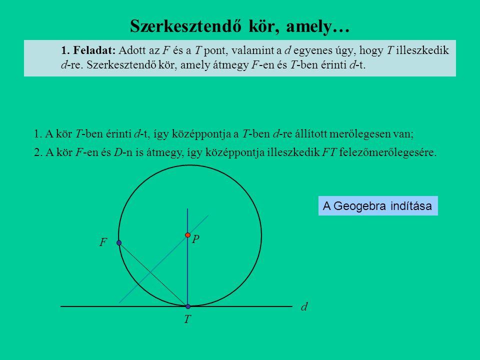 Szerkesztendő kör, amely… 1. Feladat: Adott az F és a T pont, valamint a d egyenes úgy, hogy T illeszkedik d-re. Szerkesztendő kör, amely átmegy F-en